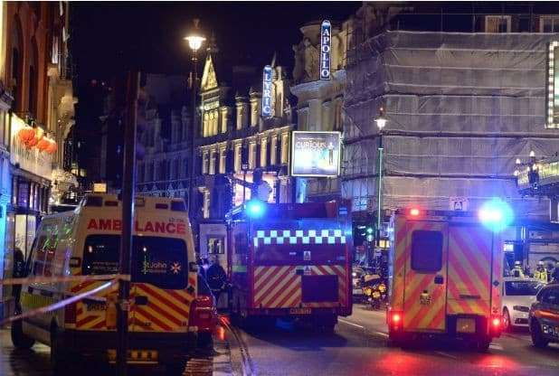 Emergency services at the Apollo Theatre on Shaftesbury Avenue