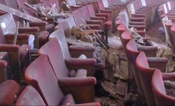 Damage inside the Apollo Theatre. Photo: Copyright Chris Edwards